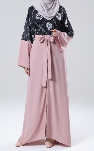 Gamis Batik Kombinasi Polos Kekinian